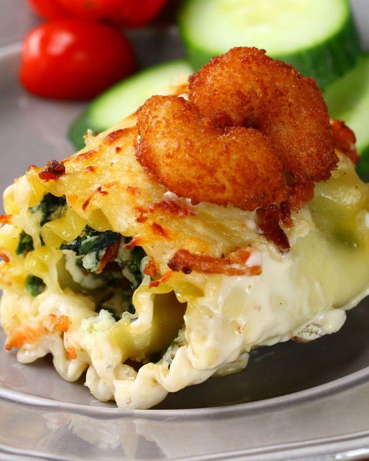Popcorn Shrimp Lasagna Roll-Ups
