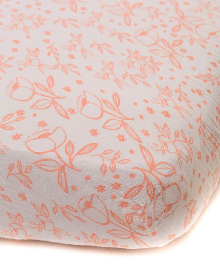 Cotton Muslin Fitted Crib Sheet, Garden Rose