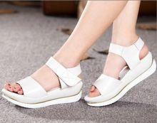 Especial Cuñas zapatos de Plataforma sandalias de verano sandalias de las mujeres 2016 zapatos casuales mujeres sandalias de cuero genuino suave de gran tamaño(China (Mainland))