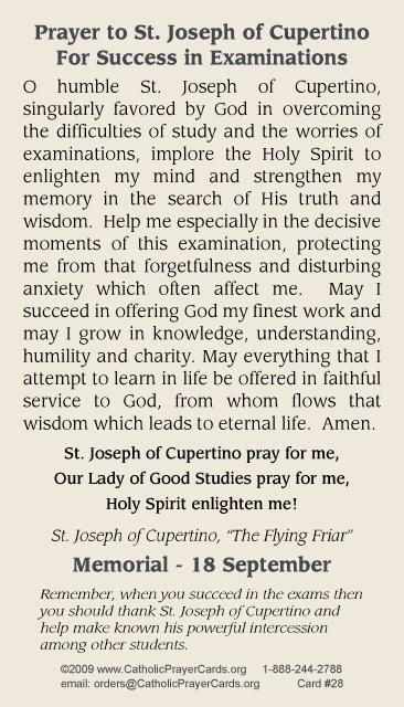 For all the people taking tests!  Prayer to St. Joseph of Cupertino for success in examinations. #Pray