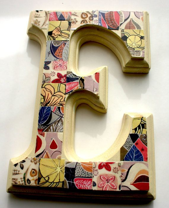 Hand Decorated 39 E 39 Wood Letter 6 5 Home Decor Wall