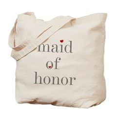 Maid of Honor Grey Text Tote Bag> Gray Text Maid of Honor> peacockcards.com
