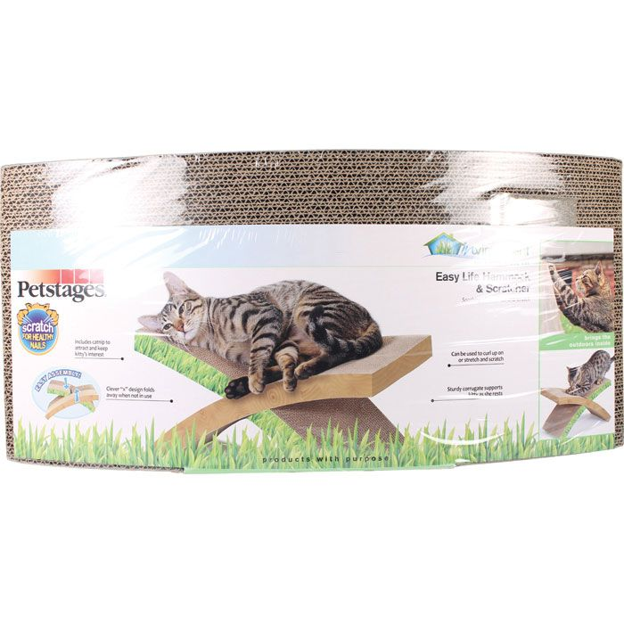 Easy Life Hammock & Scratcher  | The Easy Life Hammock & Scratcher is perfect for lounging and working your cat's nails! The corrugated cardboard design provides a comfy spot for your kitty to relax and satisfy their scratching urges! Folds away when not in use. Contains cat crazy catnip for added amusement!
