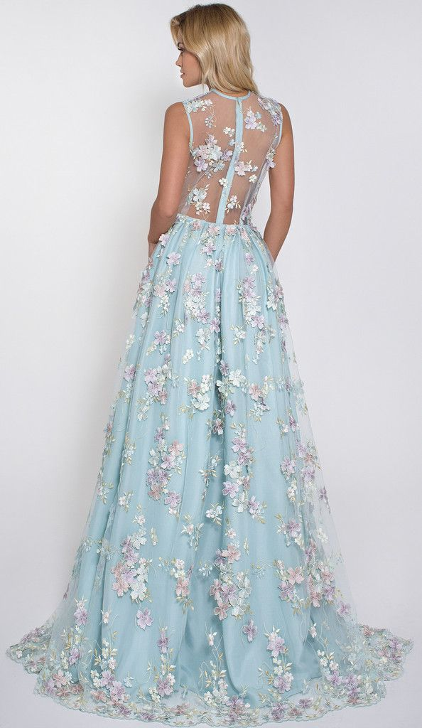 Enchanting blue bridal gown with floral appliques