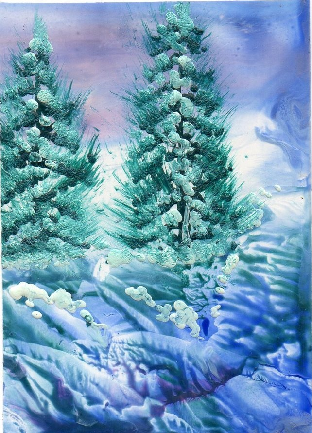 Original Landscape Encaustic Art Wax Painting 'Lonesome Pine ' £3.50
