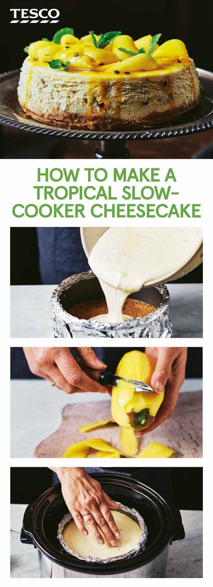 Who said you can't make a dessert in a slow cooker? Our easy cheesecake recipe is mouthwateringly tangy, made with lime and passion fruit, and topped with mango ribbons and fragrant mint.