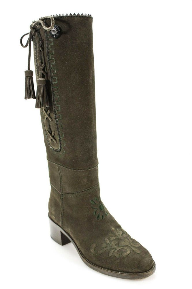 ed4e4521 eBay #Sponsored Chanel Womens Lace Up Knee High Boots Olive Green ...