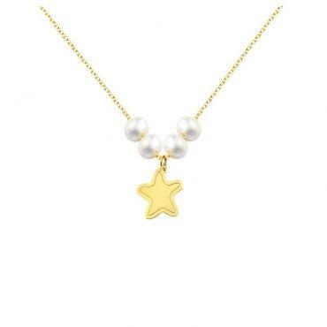 Ένα μοντέρνο κολιέ αστέρι με χαραγμένο περίγραμμα από κίτρινο χρυσό Κ14 με μαργαριτάρια σε γυαλιστερό φινίρισμα | Κολιέ ΤΣΑΛΔΑΡΗΣ στο Χαλάνδρι #αστερι #μαργαριτάρι #χρυσό #κολιέ