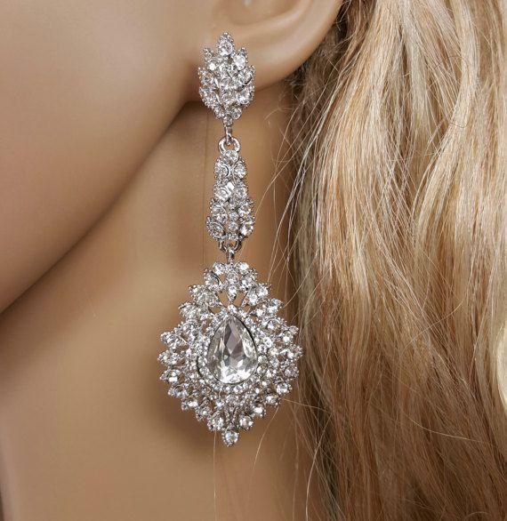 Womens Ladies STATEMENT Long Big Large BROWN Drop Dangle Earrings Wedding Party