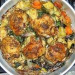 pollo con espinaca y alcachofa