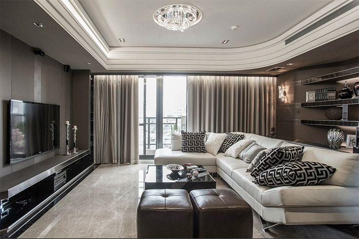 Tv, olohuone, valaistus, luksus, seinät,