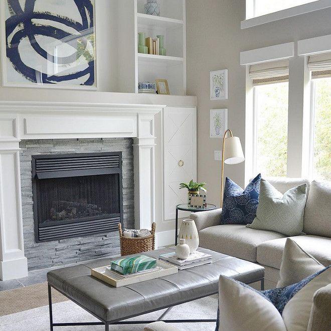 Living Room Soft Grays And Navy Blue Decor