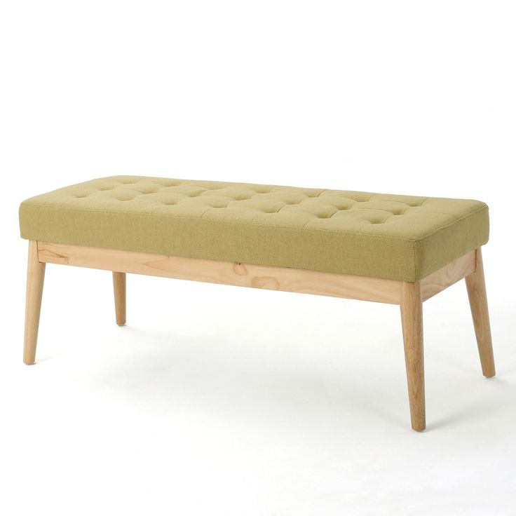 Saxon Mid-Century Tufted Fabric Ottoman Bench by Christopher Knight Home (Blue with Natural Finish) (Birch)