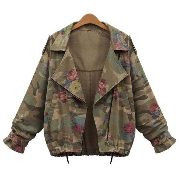 Stylish Turn Down Collar Long Sleeve Camouflage Pattern Floral Women s... (45 TND) ❤ liked on Polyvore featuring outerwear, jackets, army green, camouflage jacket, floral jacket, camoflauge jacket, long sleeve jacket and olive green jacket