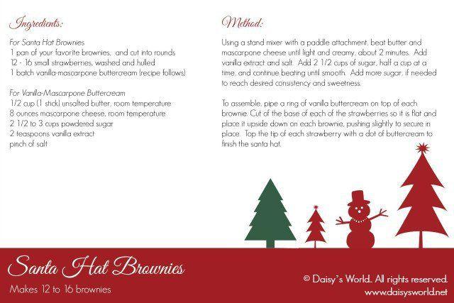 Santa Hat Brownies recipe card | daisysworld.net