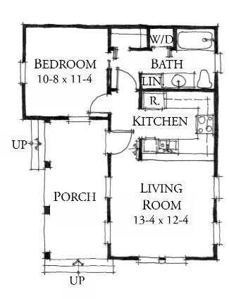 Elevation The Lafayette First Floor Plan 552 Sq Ft