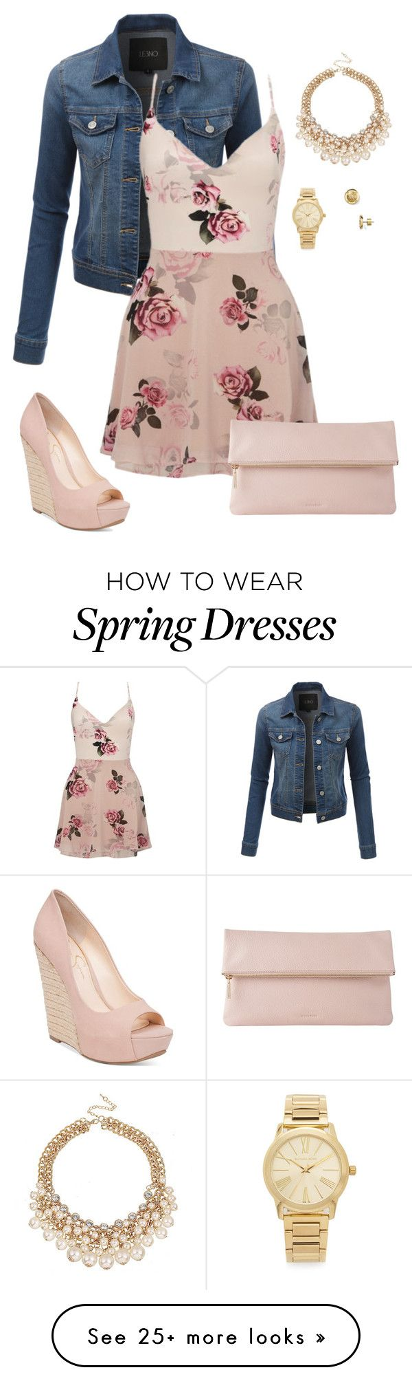 """""""Spring Is Here"""" by msnaomilynn on Polyvore featuring LE3NO, Lipsy, Jessica Simpson, Whistles, Michael Kors, denim, Clutch, Wedges, michaelkors and pinkflowers"""