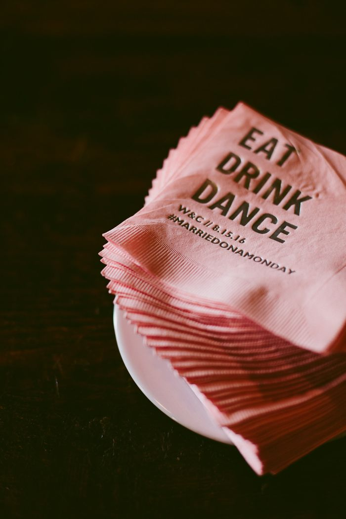 personalized wedding napkins from this Brooklyn wedding | Image by Kelly Giarrocco Photography