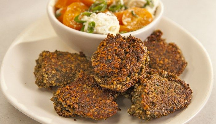 Cashew Fritters with Salsa Topping - Good Chef Bad Chef
