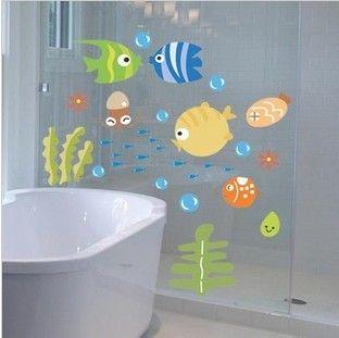 Мультфильм рыбы Небольшие стикеры стены ребенок настоящим украшением наклейки. ванные комнаты наклейки Ванной/Стекло стикер