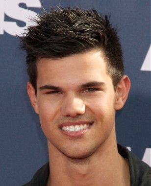A short black straight spikey Taylor Lautner Mens haircut Celebrity hairstyle by Celebrity Hairstyles