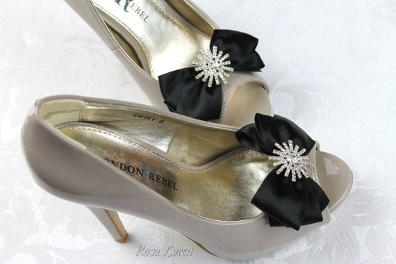 Black Satin Shoe Clips Black Bow Shoe Clip by BouquetByRosaLoren. See more at: https://www.etsy.com/listing/159888547/black-satin-shoe-clips-black-bow-shoe