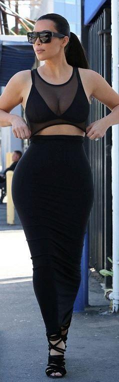 Kim Kardashian: Shirt – American Apparel  Sunglasses – Celine  Skirt (dress that has been cut ) – Wolford  Shoes – Giuseppe Zanotti X Kanye West