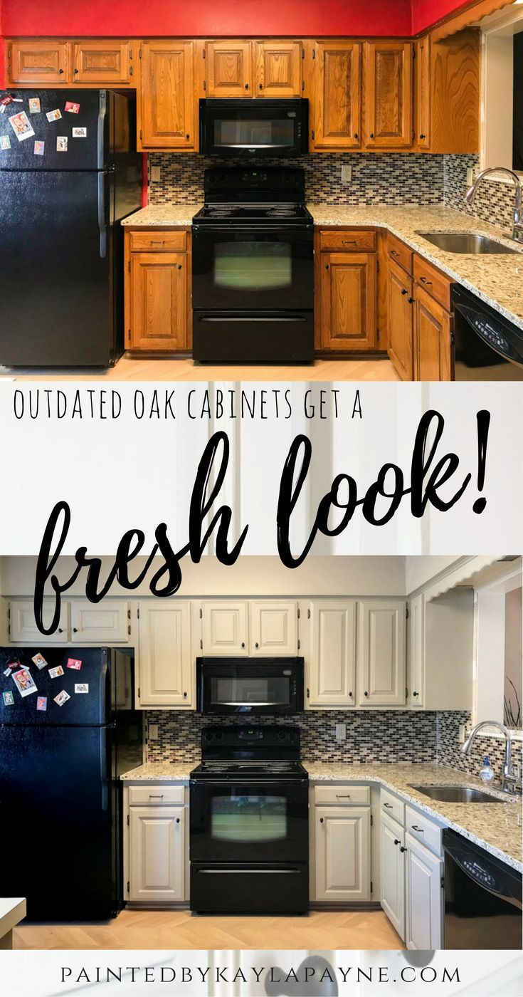 Outdated Oak Cabinets Get A Fresh Look Painted By Kayla Payne Oak Cabinets Kitchen Cabinets New Kitchen Cabinets