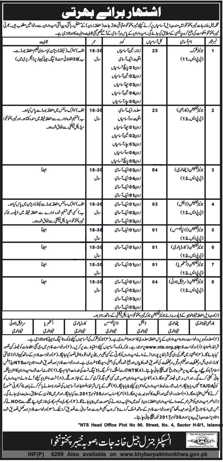 Prison Department Jobs 2017 In Jail Police Department KPK For Junior Clerk And Technicians http://www.jobsfanda.com/prison-department-jobs-2017-in-jail-police-department-kpk-for-junior-clerk-and-technicians/