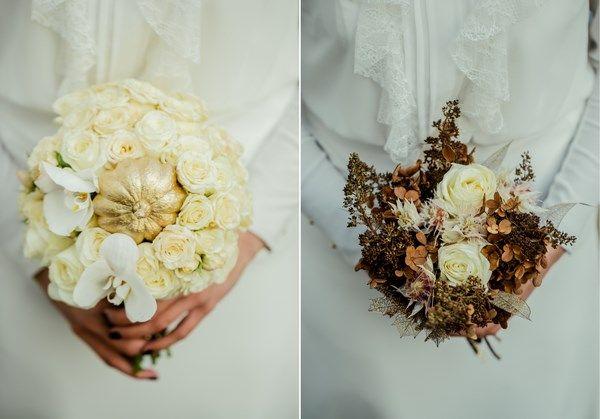 złota panna młoda, jesienny złoty bukiet ślubny ze złotą dynia, złoty makijaż ślubny