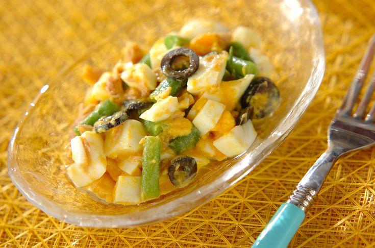 サヤインゲンの食感が良いサラダ。パンにはさんでも美味!サヤインゲンとゆで卵のサラダ[洋食/サラダ]2010.08.16公開のレシピです。