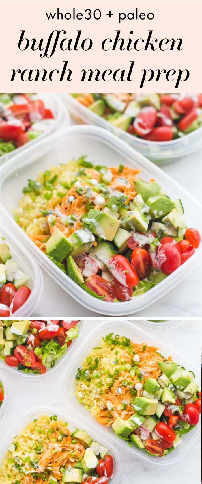 This Whole30 buffalo chicken ranch meal prep is Whole30 meal prep perfection! Totally loaded with flavor, protein, healthy fats, and fiber, this Whole30 meal prep is the best way to go into lunch swinging. With cauliflower rice and homemade ranch dressing
