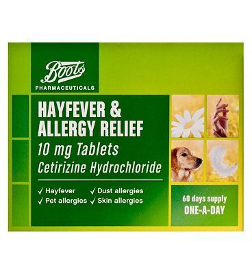 #Boots Pharmaceuticals Boots Hayfever and Allergy Relief - 60 Tablets #44 Advantage card points. Boots Pharmaceuticals Hayfever and Allergy Relief is for hayfever, dust allergies, pet allergies and skin allergies. One A Day. Each film coated tablet contains Cetirizine Hydrochloride 10mg.See details below, always read the label FREE Delivery on orders over 45 GBP. (Barcode EAN=5045095493318)