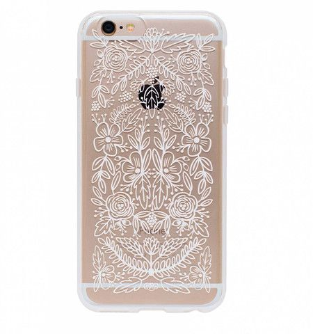 Floral Lace iphone 6 Case by Rifle Paper Company - clear with white floral lace design - Polycarbonate - Rubber Bumper - Hard Outer Shell