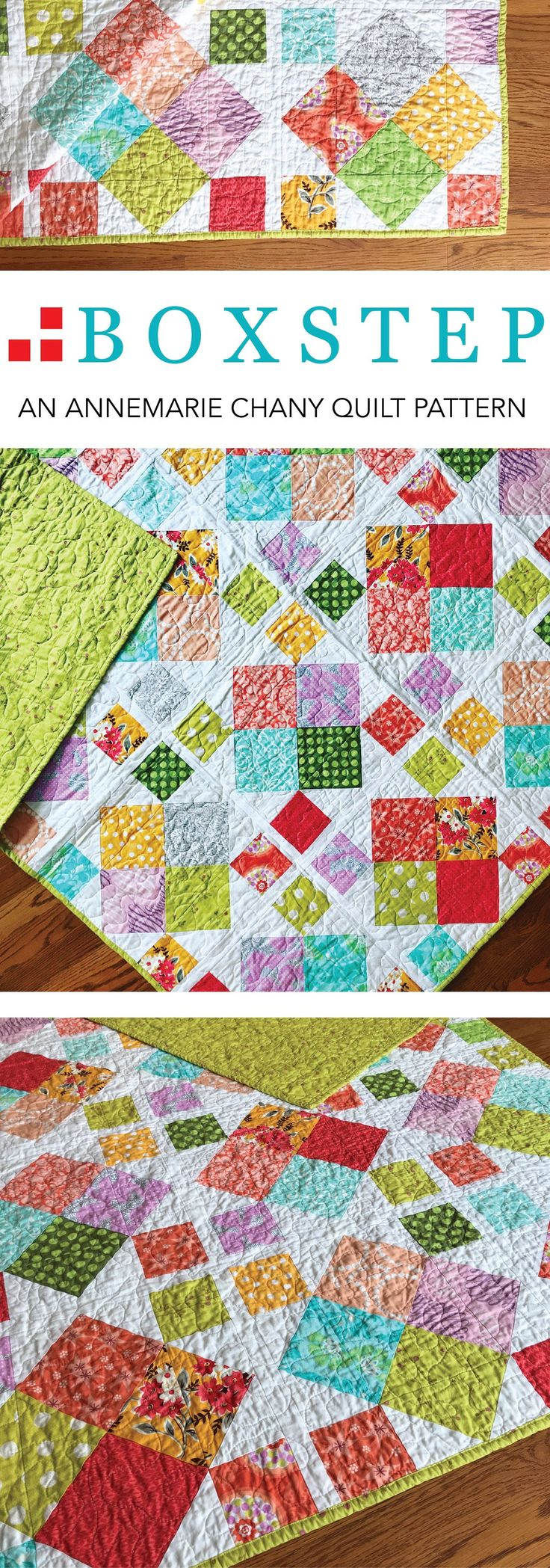 """Boxstep: A wonderful advanced beginner's pattern that uses either fat quarters or scraps. Finished Sizes: Baby 34"""" x 49"""" Lap 62"""" x 62"""" Twin 77"""" x 92"""" Pattern by AnneMarie Chany"""