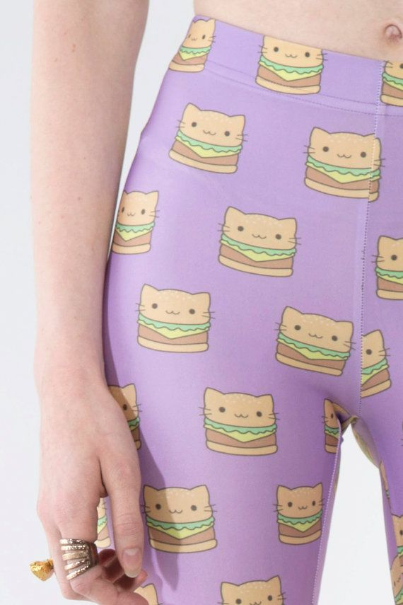 I want these so bad!!  KITTY CAT Burger Leggings Tights by MINTANDCHOPSTICKS on Etsy, $58.00