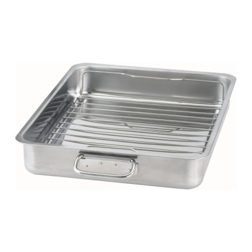 KONCIS Roasting pan with grill rack, stainless steel. Super inexpensive. Bought one today to roast individual chicken pieces. Let's see how it goes. Will report back. In the oven now. ;)