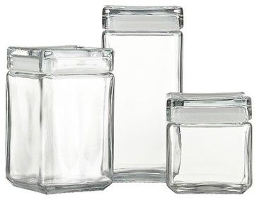 Stackable Glass Storage Jars - modern - food containers and storage ...