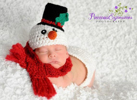 Crochet Snowman Hat  and scarf | Crochet Newborn Baby Boy/Girl Frosty The Snowman Scarf Hat Diaper Set ...