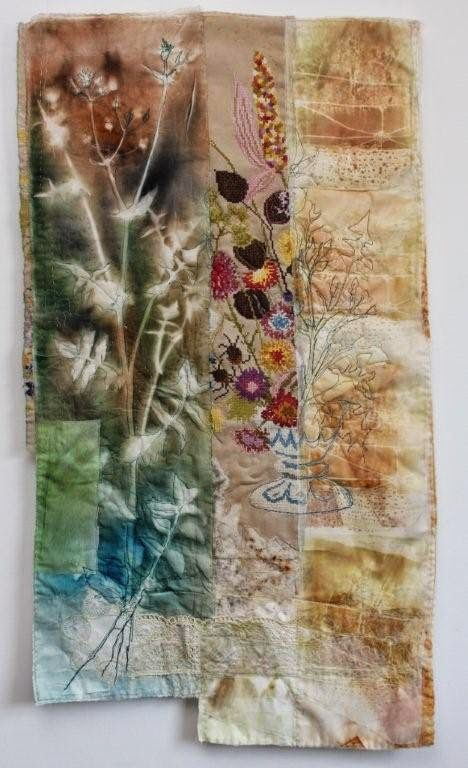 This piece by Cas Holmes explores a range of techniques, it features natural dyed fabrics, embroidery and appliqué.