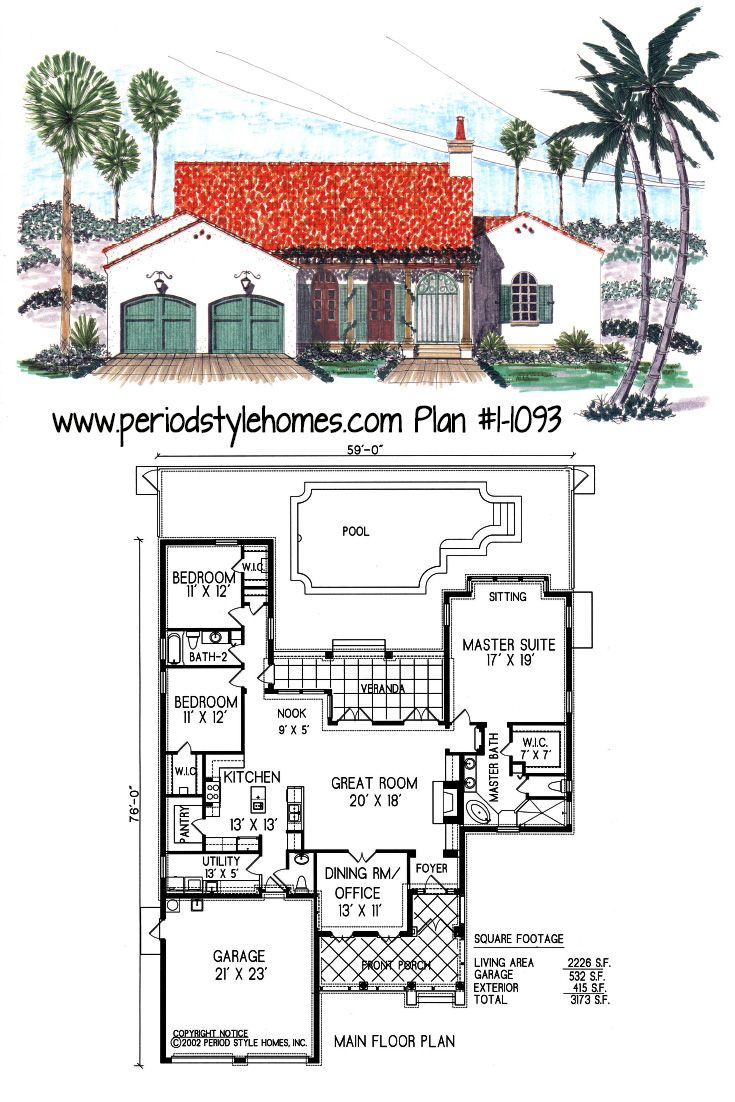 Authentic period style Spanish Colonial house plan! Full set of plans for $1,335.60 #spainshcolonial #houseplan #houseplans