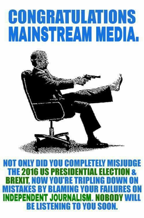 """The media wasn't """"wrong"""" in the 2016 election... their false numbers were intentional to sway the vote toward Killary!"""
