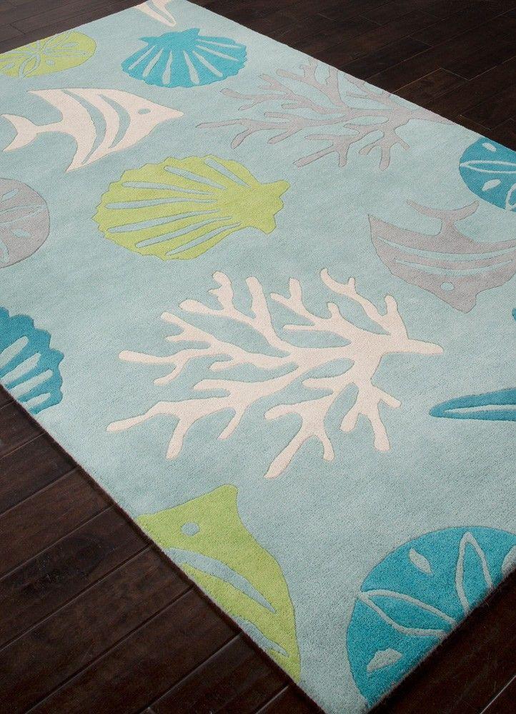 Coastal rug swimming with sealife in coastal colors!