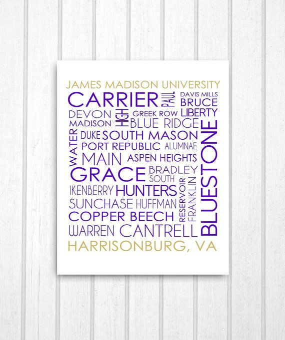 Print of street names around James Madison University. Perfect for JMU alumni and students!    -All images are printed on professional quality