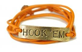 PERSONALIZE GAME DAY BRACELETS!    HOOK 'EM!!    SACK 'EM!!    BEAT 'EM!!    Order your favorite high school, college or professional team bracelet today!    Available in many combos.    Choose your winning message & team colors before your season starts!    These GAME-DAY BRACELETS are perfect whether you're cheering in the stands or from your TV!!! - Support your team today with DWNY!!!