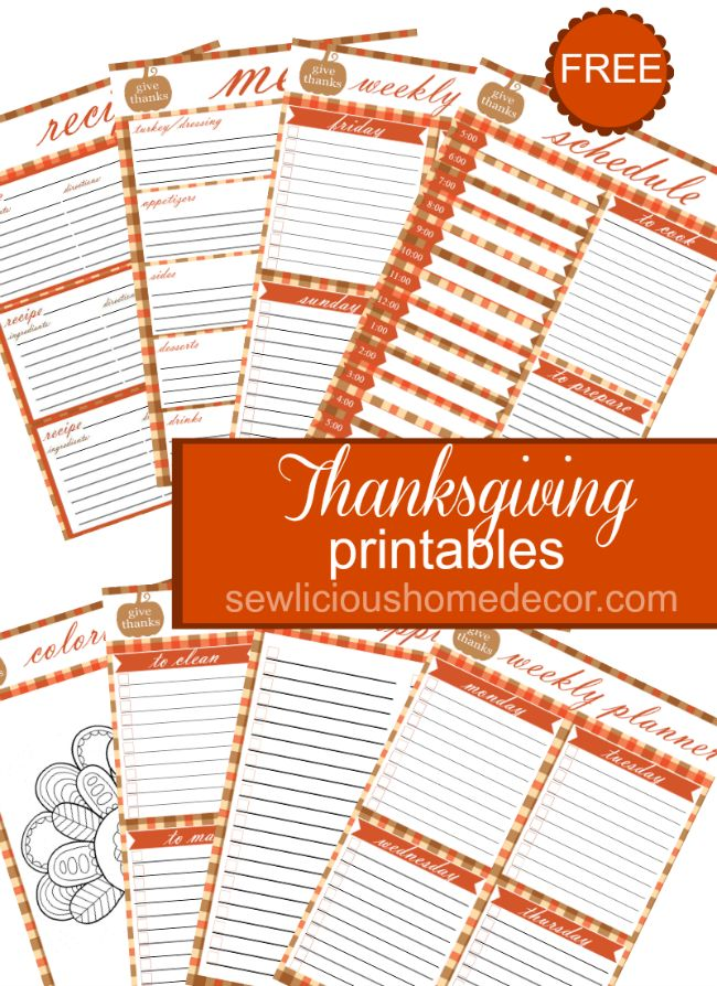 These Thanksgiving printables will help make your Thanksgiving preparations easy and organized. Get them FREE at sewlicioushomedecor.com.