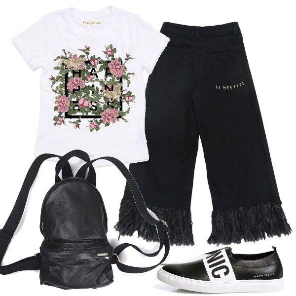 Per le donne che sono sempre in movimento, una proposta molto semplice all'insegna della comodità. Una t-shirt con una vivace stampa viene indossata su dei pantaloni a campana con frange. Le scarpe sono delle slip-on e lo zainetto è in pelle.