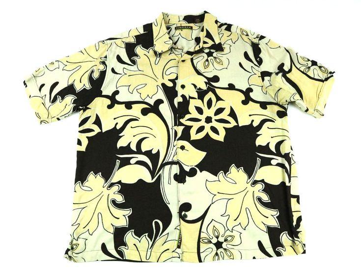 CUBAVERA Men's Brown Shirt Short Sleeve Hawaiian Floral Rayon Size 2XL Free Ship #Cubavera #ButtonFront
