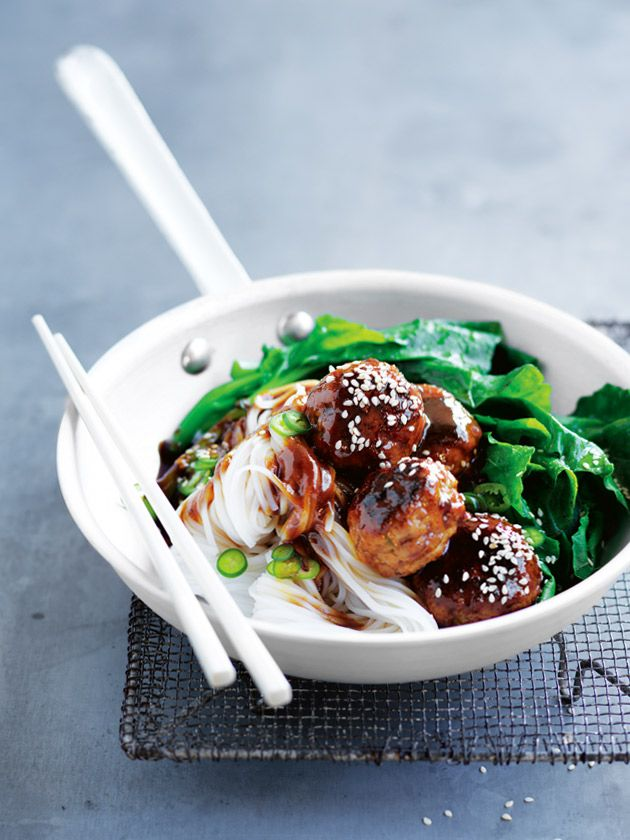 Hoisin Glazed Pork Meatballs With Rice Noodles   Donna Hay