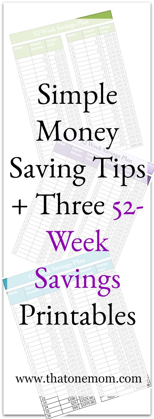 Saving money isn't always easy. Here are some simple tips to help you out, along with three different 52-Week Savings Printables! www.thatonemom.com